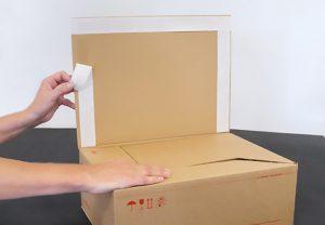 Luftfrachtkartons - Manipulationssichere Kartonagen - Selbstklebeverschluss für einfaches Verschließen