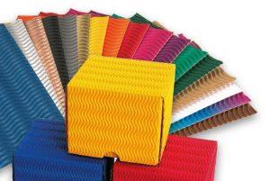 Fächer aus Wellpappe für Geschenkverpackungen - Bunte Farben