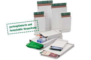 """Briefbox """"Premium"""" - Maßhaltiger Groß- und Maxibriefversand - Stabile Wellpappe, weiß - Aufreißfaden und Selbstklebeverschluss"""