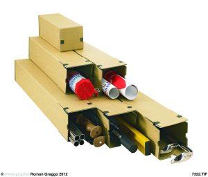 """longBox M Universalversandhülse """"Premium"""" - Quadratisch - Kartons für lange und gerollte Güter - Extrem stabile Wellpappe, braun"""