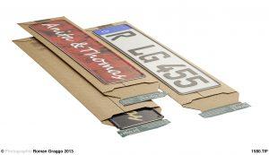Versandtaschen für Kfz-Kennzeichen - Stabile Wellpappe - Aufreißfaden und Selbstklebeverschluss