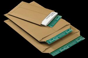 Versandtaschen aus stabiler Vollpappe mit Wiederverschluss und Kantenschutz