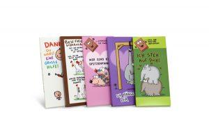Faltschachteln, Promotionverpackungen für Schokolade - Kartons aus Vollpappe - Bunte Illustrationen