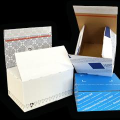 Stabile Versandverpackungen, individuell bedruckt - Selbstklebeverschluss, Aufreißfaden - Sicheres Verschließen und Öffnen