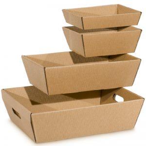Viereckige Präsentkörbe, natur - Praktische, stabile Geschenkverpackungen